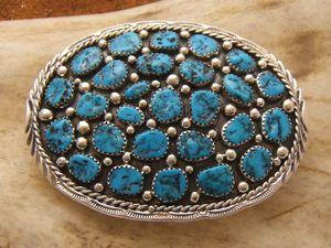 e71ce828c3d Boucle de ceinture en turquoise et argent massif